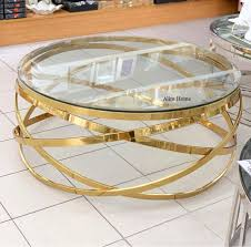 Couchtisch Gold Glas Rund