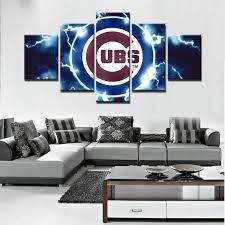 Chicago Cubs Baseball Canvas Print Home Decor Wall Art Five Piece Framed Ebay