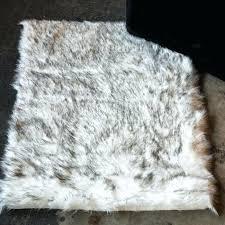 grey faux fur rug union rustic grant
