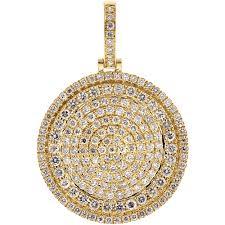 mens diamond circle medallion pendant