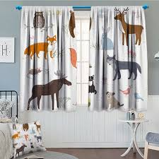 Amazon Com Septsonne Cabin Decor Thermal Room Darkening Window Curtains Cute Animals In Spring Meadow Childish Woodland Fauna Kids Baby Room Nursery Decor Curtains By 72 X63 Multicolor Home Kitchen