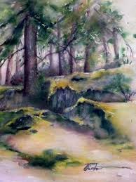 Watercolour, Forests, Rocks, Trees, Coastal, British Columbia, Quadra  Island, Perry Johnston | Watercolor pictures, Painting, Watercolor landscape