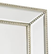 channing silver beaded floor mirror