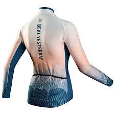 Monton Womens RACE Sonya Long Sleeve Jersey (Blue/Peach/multi) | Sport