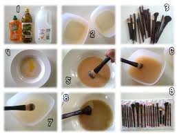 wash makeup brushes with face cleanser