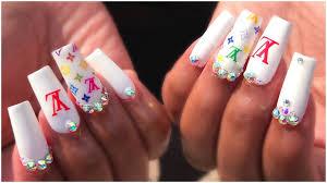 dupe method nails white lv bling