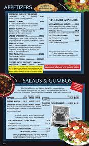 Steakhouse menu in Lafayette, Louisiana