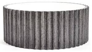 fluted black wood drum coffee table