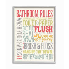 The Stupell Home Decor Collection 16 In X 20 In Bathroom Rules Coral Green Grey And Blue Farmhouse Rustic By Stephanie Marrott Framed Wall Art Wrp 1317 Gff 16x20 The Home Depot