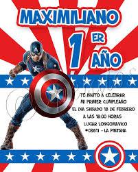 Invitacion De Tematica Capitanamerica Especial Para Maximiliano