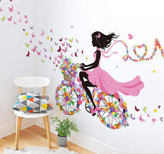 Amazon Com Lodintech Flower Elf Wall Stickers Float Girl Wall Decals Fairy Romantic For Living Room Girl S Room Kindergarten Decoration Pvc Removable Diy Baby