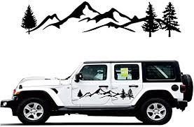 Amazon Com Giftcity Car Decals Sticker 2 Pack Mountain Forest Graphic Decal Car Vinyl Stickers For Car Truck Suv Jeep Universal Scratch Hidden Car Stickers Black 78 Inch X 16 Inch Automotive