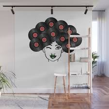 Vinyl Records Afro Hair Black Woman Wall Mural By Born Design Society6