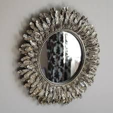 gold feather effect wall mirror living