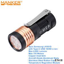 Manker E14 III 4000 Lumens LED Samsung EDC Cắm Trại Đèn Pin Cao Cấp Túi Đèn  Pin Đèn Sạc USB 18350 Pin 