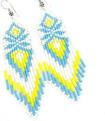 handmade blue white yellow seed beads