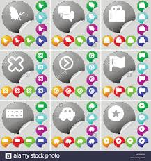 Butterfly Chat Shopping Bag Stop Arrow Right Flag Currency Car Star Sign Icon A Set Of Seventy Two Colorful Round Buttons Stickers Vector I Stock Vector Image Art Alamy