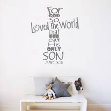 John 3 16 Wall Decals Quotes For God So Loved The World Vinyl Bible Verse Wall Stickers Christian Modern Home Decor Mural Lc111 John 3 16 Wall Decals Quoteswall Sticker Aliexpress
