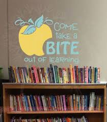Take A Bite Out Of Learning With Apple Wall Vinyl Decals Sticker Classroom Art Quote 2 Color