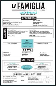 La Famiglia menu in Plainview, New York, USA