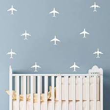 Amazon Com Makeyes Airplanes Sky Fly Planes Wall Stickers Boys Rooms Wall Decor 2 Types Wall Decals Plane Decoration Peel Diy Mg007 White Arts Crafts Sewing