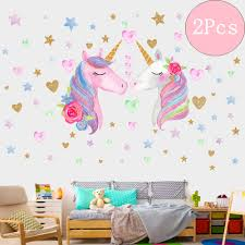 3sheets 2styles 87pcs Unicorn Wall Stickers Wall Decals For Girls Room Kids Rooms Decor Unicorn Wall Decal Wall Stickers Murals