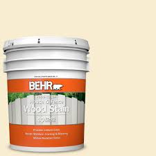 Behr 5 Gal 300a 1 Opal Cream Solid Color House And Fence Exterior Wood Stain 01105 The Home Depot