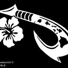 Hawaiian Islands Maui Hook With Hibiscus Flower Decal Vinyl Sticker Graphics Ur Impressions Llc