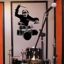 Music Monkey Drum Drummer Art Bedroom Wall Mural Sticker Decal Vinyl Wall Decal Adesivi Murali Glass Film Window Stickers Sticker Book Stickerfilm Protection Blackberry Curve 8520 Aliexpress