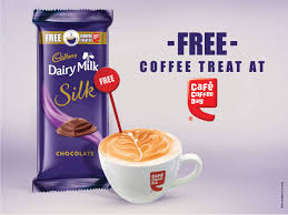 buy a cadbury dairy milk silk and get ccd coffee code