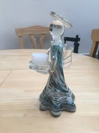 hand blown glass angel candle holder