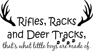 Amazon Com Vinyl Decal Rifles Racks And Deer Tracks That S What Little Boys Are Made Of Home Kitchen
