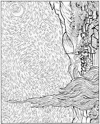 Kleurplaat Vincent Van Gogh Sterren 1889 Kleurplaten