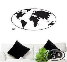 Wall Decal Globe World Map In White Or Black 45 5 X22 Globe Wall Sticker Ebay