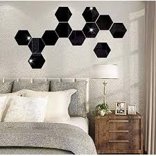 Amazon Com Highpot 3d Mirror Hexagon Vinyl Diy Wall Sticker Removable Decal Home Decor Art 7pcs E Home Kitchen