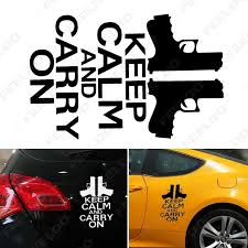 Feeldo Car Accessories Official Store 1pcs Auto Decals Keep Calm And Carry On Vinyl Car Styling Stickers Two Guns Car Creative Window Waterproof Stickers