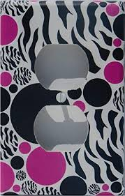 Amazon Com Zebra Print Dot Outlet Switch Plate Cover Childrens Animal Print Wall Decor With Zebra Print Hot Pink And Black Dots Home Kitchen