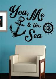 You Me And The Sea Quote Anchor Nautical Decal Sticker Wall Vinyl Art Boop Decals