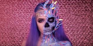 half skull half face makeup tutorial