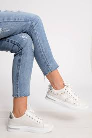 White Studded Lace Up Trainers - Ada | Rebellious
