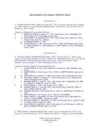 Descendants of Johann Wilhelm Spies - SLPatterson