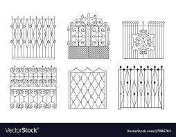 Decorative Black Wrought Iron Gates Set Vintage Vector Image