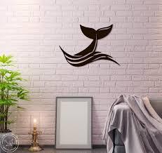 Metal Wall Art Whale Tail Sea Waves Steel Home Decor Animal Etsy