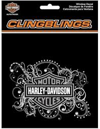 Amazon Com Harley Davidson Bar Shield Filigree Cling Bling Silver Window Decal Cg1120 Harley Davidson Automotive