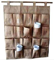 large hessian wall pocket with 20