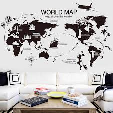 Black World Map Wall Sticker Vinyl Diy World Travel Landmarks Wall Decals For Living Room Bedroom Study Wall Decoration Sticker Wall Stickers Aliexpress