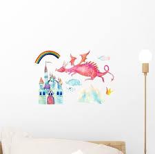 Watercolor Pink Fairy Tale Dragon Wall Decal Sticker Set Wallmonkeys Com