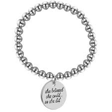 inspirational quotes bracelets silver stainless steel beads charm