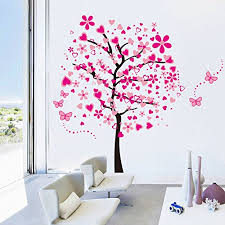 Elecmotive Huge Size Cartoon Heart Tree Butterfly Wall Decals Removable Wall Decor Decorative Painting Supplies Wall Treatments Stickers For Girls Kids Living Room Bedroom Prettyhomedecor
