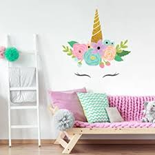Amazon Com Glitter Unicorn Horn Wall Decal Large Size Girl S Room Decor Wall Stickers Baby
